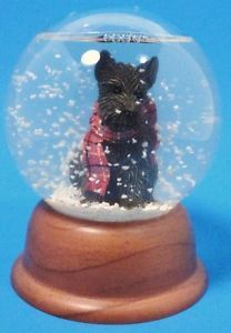 Scotty Dog Snow Water Globe Scottish Terrier Christmas Ornament Figurine Decor