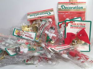 Vintage Christmas 50 PC Bow Bell Reindeer Sleigh Santa Snowman Ornament Decor