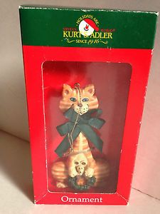 NIP Kurt s Adler Cat Kitten Christmas Ornament Wreath Mouse Holdiay Decor