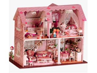 Large Dream Villa DIY Wood Dollhouse Miniature with Light Pink Sweet Heart XL