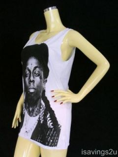 Lil Wayne Tank Top Rapper Hip Hop Rap White Singlet T Shirt Mini Dress New