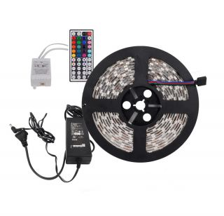 16ft 300 LEDs 5050 RGB Waterproof LED Strip Remote Controller Power Adapter