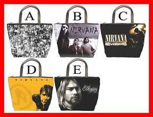 Nirvana Kurt Cobain Rock Band Bucket Bag Purse Pick 1