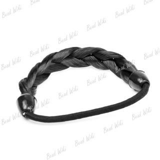 Black Brown Blond Wine Red Women Braid Wig Hair Rope Elastic Ponytail Holder Ha