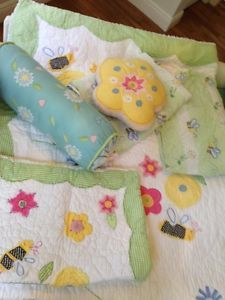 Pottery Barn Kids Girls Garden Bee Twin Bedding Set 7 Pieces