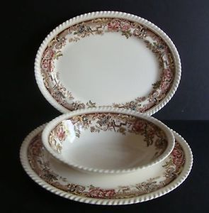 2 Johnson Bros England Devonshire Platters Oval Bowl