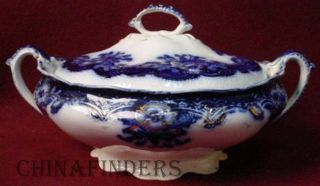 Johnson Brothers China Oregon Flow Blue Gold Accent Round Covered Vegetable Bowl