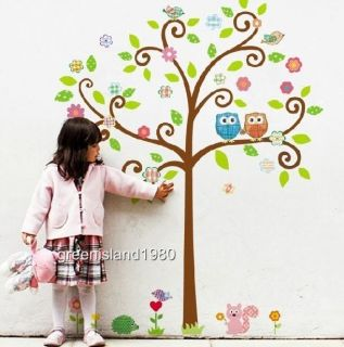 Owl Scroll Tree Wall Decal Art Nursery Stickers Removable Kids Baby Home Decor