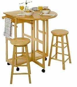 Winsome Wood Breakfast Bar Kitchen Cart w 2 Stools Beechwood