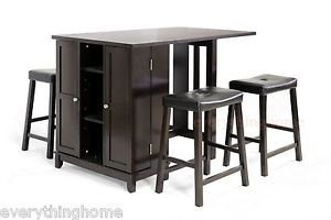Modern 5 Piece Dark Brown Designer Kitchen Pub Table Set Storage Cabinet Stools