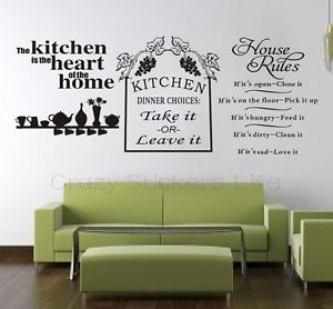 Kitchen Heart Dinner Choices Home House Rules Quote Wall Art Vinyl Sticker Decal