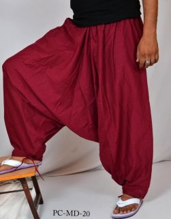 Indian Men's Cotton Maroon Harem Pants Aladdin Trousers Alibaba Afghani Pants
