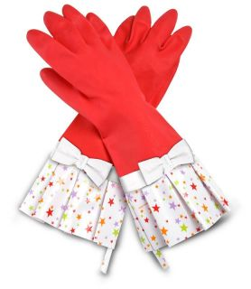 Gloveables Grandway Rubber Cleaning Gloves Red Retro Gardening Kitchen Dish