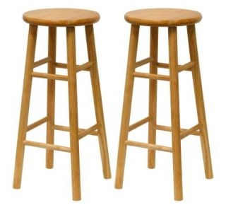 Winsome Wood 30 inch Bar Stools 2 Natural Wood Finish Backless Kitchen Counter