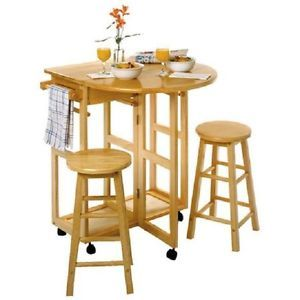 Winsome Basics Wood Breakfast Bar Set Kitchen Cart Counter Table Stools Ezstore