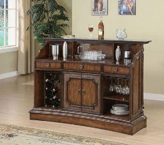 New Marble Counter Top Home Bar Pub Stools Mahogany Table Wine Rack Storage Wood