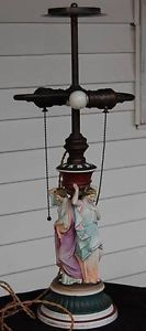 Antique Porcelain Figural Table Lamp Base for Reverse Painted Shade
