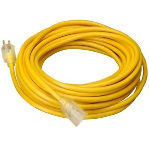 15 ft 14 Gauge Indoor Outdoor Heavy Duty Power Extension Cord Yellow UL w Light
