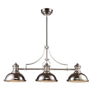 Landmark 3 Light Nautical Island Pendant Lighting Fixture Polished Nickel Glass