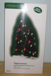 Dept 56 2 Lighted Pine Trees Christmas Snow Village Accessory Landscape Accent