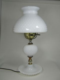 Beautiful Fenton White Milk Glass Hobnail Electric Lamp Shade Base Antique Light