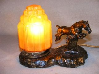 Unusual Art Deco Vintage Metal Desk Lamp Jumping Horse Glass Shade