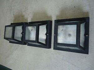 Three 3 Matte Black Outdoor Porch Ceiling Lights Used Outside Light Fixtures