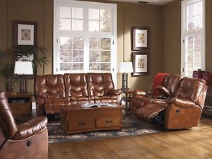 Ashley Hawkeye Dune Tan Faux Leather Reclining Sofa Loveseat Recliner 8500088 43