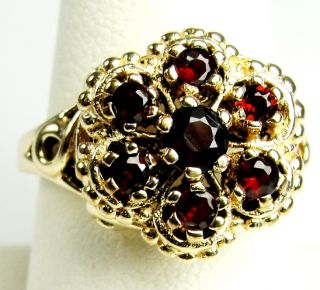 10K Solid Yellow Gold Garnet Flower Ring Brilliant Round Cut Prong Set Sz 7 3 4