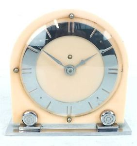 Superb Antique Art Deco Mantel Clock RARE Chrome Bakelite 8 Day Mantle Clock