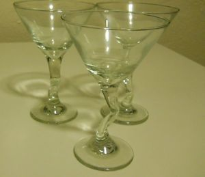 Crooked Stem Martini Glasses Set of 3 Clear Glass Barware Housewarming Gift