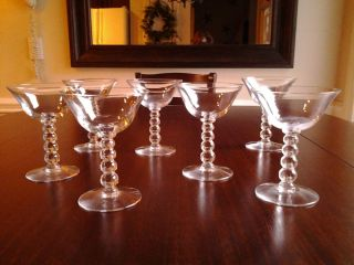 7 Vintage Imperial Candlewick Champagne Martini Sherbet Glasses