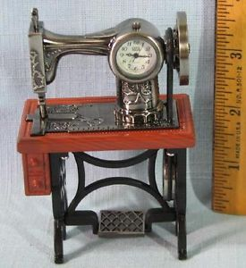 Sanis Miniature Clock Vintage Pedal Sewing Machine