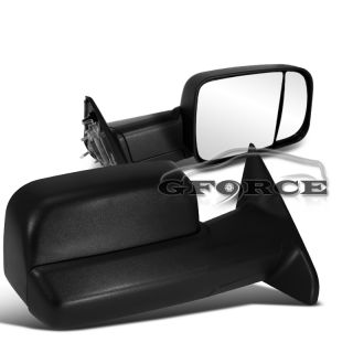 2010 2012 Dodge RAM 2500 3500 Manual Tow Towing Extendable Side Mirrors Blk