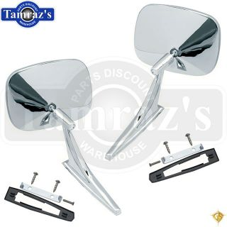 Chevy Chrome Rectangular Side Rear View Door Mirror PR w Hardware Golden Star