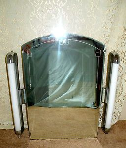 Vtg Art Deco Medicine Cabinet with Bullet Lights Glass Shelves Etched Glass
