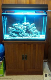 30 Gallon Complete Saltwater Marine Fish Tank Stand Aquarium w EXTRAS Bundle