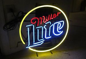 "18"" Miller Lite Electric Neon Bar Sign by Fall on Neon Local Pickup NJ"