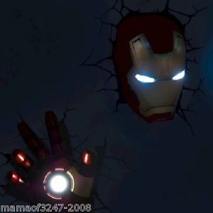 Marvel Avengers Assemble Iron Man Mask Hand 3D Wall Art Deco Night Light FX