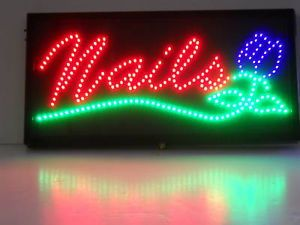 LED Neon Sign Nails Nail Salon Beauty Shop Open Lamp