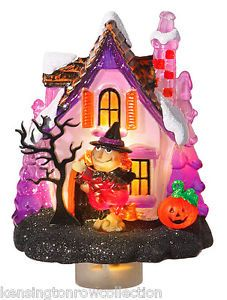 Halloween Night Light Witch and Haunted House Pumpkin