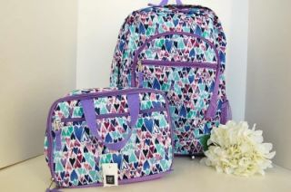 New Gap Kids Girls Purple Multi Heart Backpack Free Matching Lunch Box Set