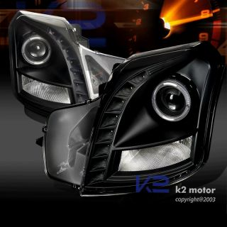 03 07 Cadillac cts Halo Projector Headlights Black SMD LED DRL
