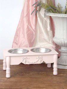 "Shabby Cottage Chic 7"" Raised Pink Pet Dog Cat Feeder"