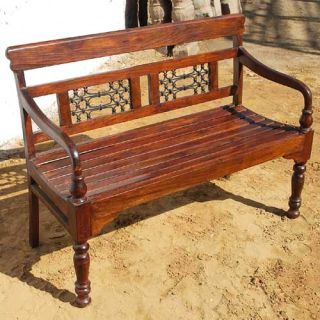 Solid Wood Transitional Wrought Iron Indoor Outdoor Patio Garden Sofa Bench New