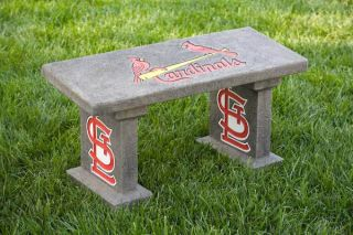 St Louis Cardinals MLB Team Name Logo Painted Concrete Garden Bench