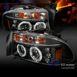 1997 2004 Dodge Dakota Durango Halo LED Projector Headlights Black