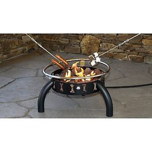 Outdoor Portable LP Propane 55 000 BTU Fire Pit Fire Ring w Lava Rocks 4 Forks
