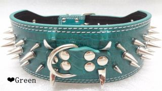 "3"" Leather Spiked Horn Dog Collars to Protect The Neck Suitable for Large Dogs"
