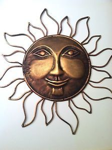 Sunburst Sun Face Metal Copper Color Wall Hanging Art Outdoor Garden Decor